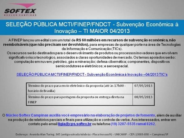 Seleçaõ Pública MCTIFINEPFNDCT -  Subvençaõ econômica