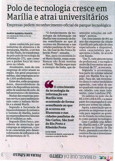 Setor de TI de Marília na Folha de São Paulo